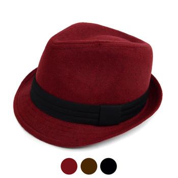 Fall/Winter Felt Trilby Fedora Hat With Band Trim H171222