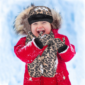 6pc Pack Toddler's (2-5 Years Old) Fleece Leopard Print with Fur Trim Winter Set WSET91CH