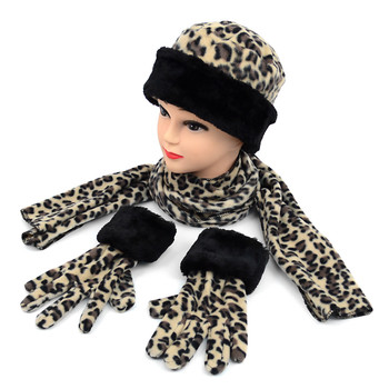 6pc Pack Junior's (6-12 Years Old) Fleece Leopard Print with Fur Trim Winter Set WSET91JR