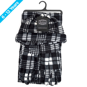 6pc Pack Junior's (6-12 Years Old) Gray Plaid Fleece Winter Set WNTSET1002-BK-JR