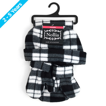6pc Pack Toddler's (2-5 Years Old) Gray Plaid Fleece Winter Set WNTSET1002-BK-CH