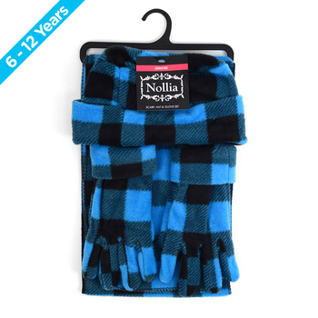 6pc Pack Junior's (6-12 Years Old) Fleece Azure Plaid Winter Set WSET8020-BLU-JR
