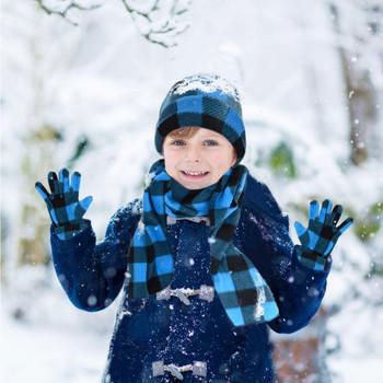 Kid's (6-12 Years Old) Fleece Azure Plaid Winter Set WSET8020-BLU-JR