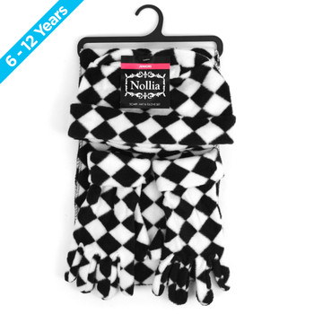 6pc Pack Junior's (6-12 Years Old) Fleece Black & White Checkered Winter Set WSET8060-JR