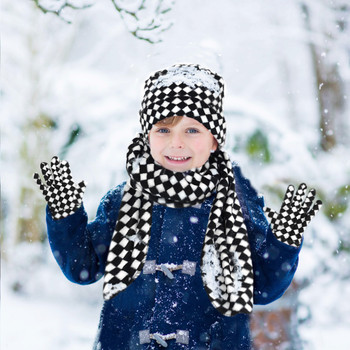 Kid's (6-12 Years Old) Fleece Black & White Checkered Winter Set WSET8060-JR