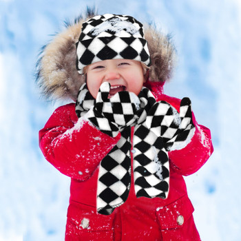 Toddler's (2-5 Years Old) Fleece Black & White Checkered Winter Set WSET8060-CH