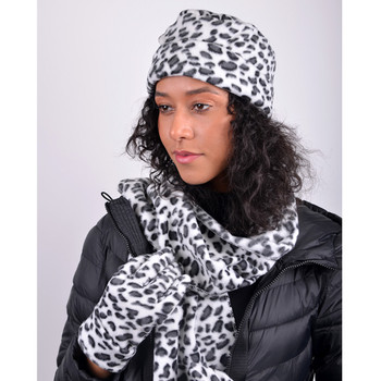 Women's Snow Leopard  Print Fleece Winter Set WNSET9011