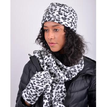 Women's Snow Leopard  Print Fleece Winter Set WNSET9011