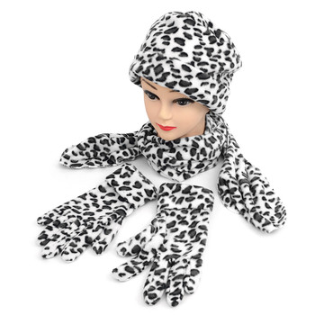 6pc Pack Women's Snow Leopard Print Fleece Winter Set WNSET9011