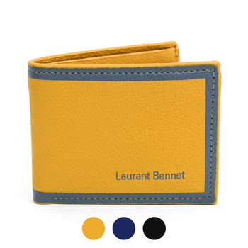 Bi-Fold Two Tone Leather Wallet with Color Trim MLW5184