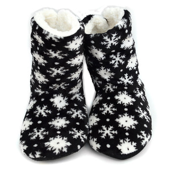 Women's Snowflakes Warm & Cozy Indoor Non Slip Grip Slipper Bootie WFWB1715
