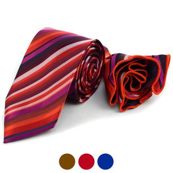 Striped Tie & Matching Pocket Round Set MPWTH170626