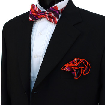 Striped Banded Bow Tie & Matching Hanky Pocket Round Set BTH170626