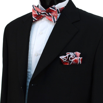 Striped Paisley Banded Bow Tie & Matching Hanky Pocket Round Set BTH170638