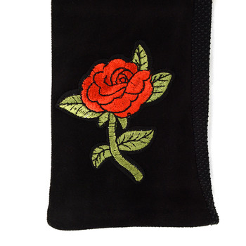 Women's Rose embroidered Touch Screen Non-Slip Grip Winter Gloves with Fleece Lining
