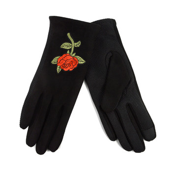 Women's Rose embroidered Touch Screen Non-Slip Grip Winter Gloves with Fleece Lining - LWG05