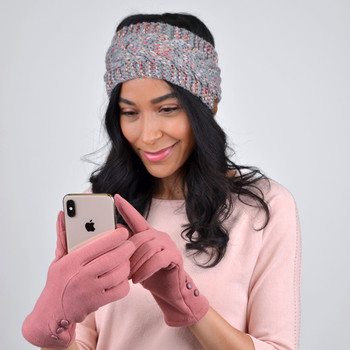 Women's Stylish Touch Screen Gloves with Button Accent & Fleece Lining-LWG06