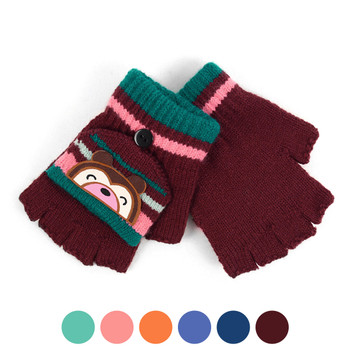 6pc Children's Knit Convertible Winter Mitten Gloves with Cute Bear Patch - 580KFG