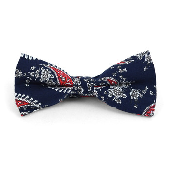3pc Paisley Wedding Cotton Banded Bow Tie - NFCB17116