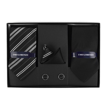 3pc Striped & Solid Tie with Matching Hanky and Cufflinks THCX12-BLK3