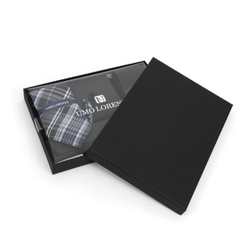 3pc Plaid & Solid Tie with Matching Hanky and Cufflinks THCX12-BLK4