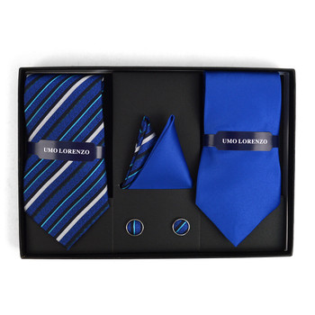 3pc Striped & Solid Tie with Matching Hanky and Cufflinks THCX12-RBL2