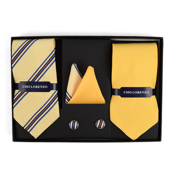 3pc Striped & Solid Tie with Matching Hanky and Cufflinks THCX12-YW2