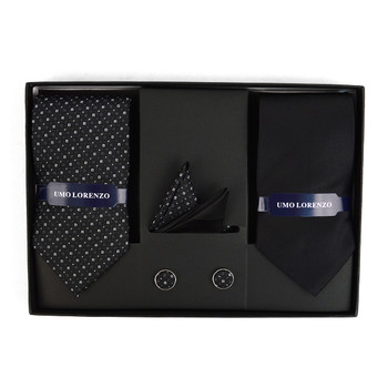 3pc Dotted & Solid Tie with Matching Hanky and Cufflinks THCX12-BLK6