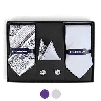 Paisley & Solid Tie with Matching Hanky and Cufflinks THCX12-PSY1