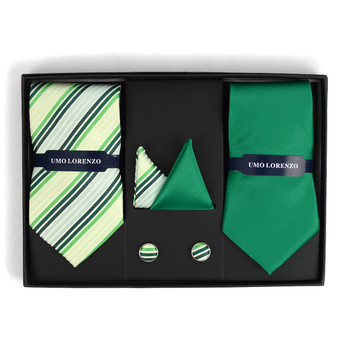 3pc Striped & Solid Tie with Matching Hanky and Cufflinks THCX12-STP1