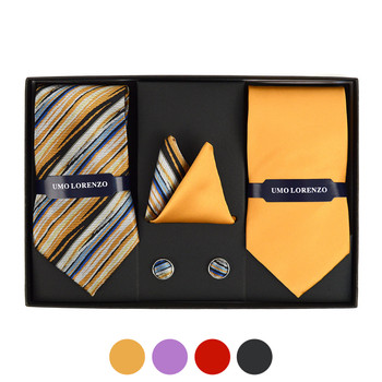 3pc Striped & Solid Tie with Matching Hanky and Cufflinks THCX12-STP2