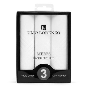 Boxed Men's Cotton Plain Handkerchiefs 3pcs Set HB003