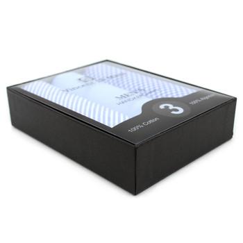 Boxed Men's Cotton Solid, Striped & Plaid Blue Handkerchiefs 3pcs Set - MFVB1733