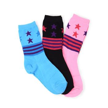 4-Packs (3 pairs/pack) Women's Stars-Stripes Novelty Socks EBC-426
