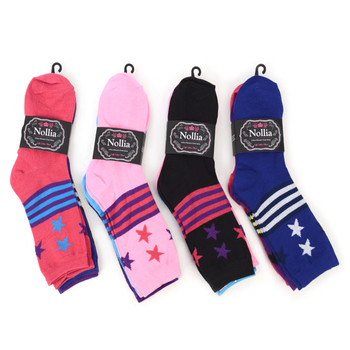 4-Packs (12 Pairs) Women's Stars-Stripes Novelty Socks EBC-426