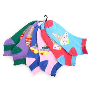 Assorted Pack (6 pairs) Women's Ice Cream Low Cut Socks EBA-620