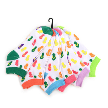 Assorted Pack (6 pairs) Women's Flip Flops Pattern Low Cut Socks EBA-675