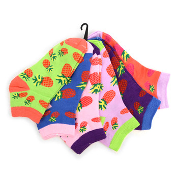 Assorted Pack (6 pairs) Women's Red Pineapple Novelty Low Cut Socks EBA-680