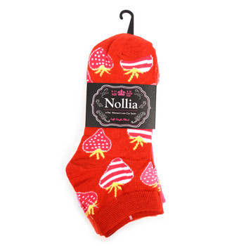 Assorted Pack (6 pairs) Women's Striped Strawberry Low Cut Socks EBA-681