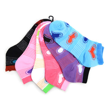 Assorted Pack (6 pairs) Women's Hearts Low Cut Socks LN6F1633