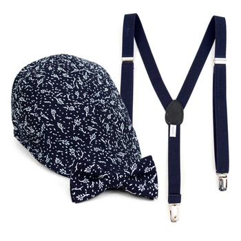 Boy's Navy Clip-on Suspender, Botanical Pattern Ivy Hat & Matching Bow Tie Set (BSBIV0807H3-3)