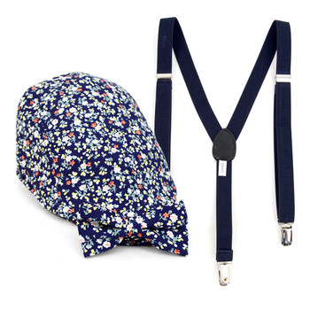 Boy's Navy Clip-on Suspender, Floral Pattern Ivy Hat & Matching Bow Tie Set (BSBIV0807H7-1)