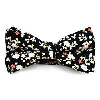 Boy's Black Clip-on Suspender, Floral Pattern Ivy Hat & Matching Bow Tie Set (BSBIV0807H7-2)