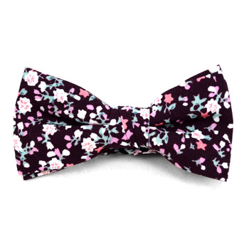 Boy's Burgundy Clip-on Suspender, Floral Pattern Ivy Hat & Matching Bow Tie Set (BSBIV0807H7-3)