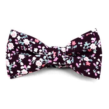 Boy's Burgundy Clip-on Suspender, Floral Pattern Ivy Hat & Matching Bow Tie Set (BSBIV0807H7-3)