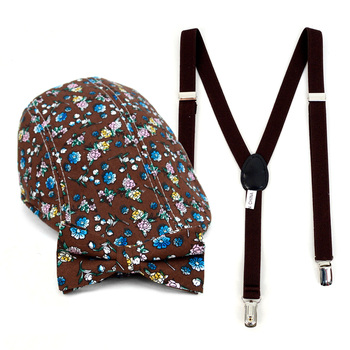 Boy's Brown Clip-on Suspender, Floral Pattern Ivy Hat & Matching Bow Tie Set (BSBIV0807H18-3)