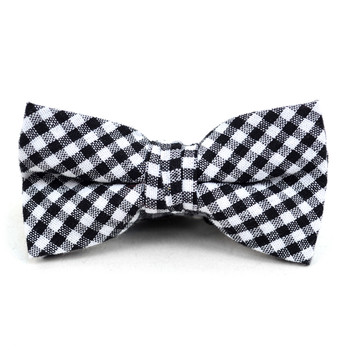 Boy's Black Clip-on Suspender, Checkered Ivy Hat & Matching Bow Tie Set