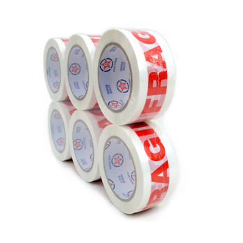 "6pc Fragile Printing Packing Tape Commercial Grade-2"" Wide -TPFC"
