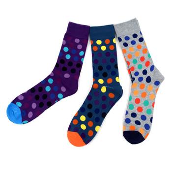 Assorted Pack (3 Pairs) Men's Dot Casual Fancy Socks 3PKS-S/S-1