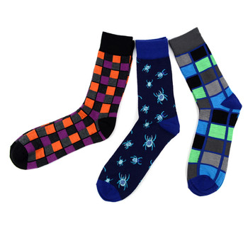 Assorted Pack (3 Pairs) Men's Casual Fancy Crew Socks 3PKS-S/S-5
